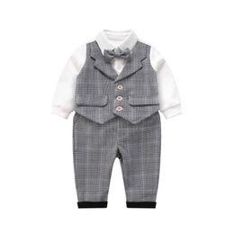 Discount baby tie romper - newborn outfits newborn baby boy clothes baby designer sets boys suits bow tie shirt romper+ trousers boys suits Boys Cl