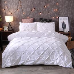 black gold bedding sets 2019 - Nordic Bedding Set Solid Duvet Cover Sets Pillowcase Plain Colour Polyester Sheet Set No Filler cheap black gold bedding