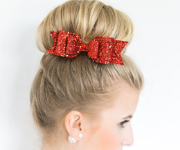 $enCountryForm.capitalKeyWord Australia - 16 Colors 5 Inch Girls Bow Hairpins Fashion Sequin Designer Glitter Bows Hair Grips Childer Solid Hair Clips Kids Hair Accessories