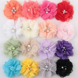 chiffon flower headband rhinestone Australia - Chiffon Flowers With Pearl Rhinestone Center Artificial Flower Fabric Flowers Children Hair Accessories Baby Headbands Flower Diy