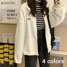 Wholesale girls fleece zip hoodie online – oversize Hoodies Women Fleece Chic Letter Pocket Turn down Collar Korean White Womens Zip up Harajuku BF Daily Oversize Girls Streetwear