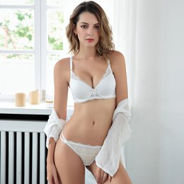 dc2e11da0e3e MoXian Factory hot sale lace underwear set female deep V bra sexy push up  bra suit thin under the thick underwear set LS34608027Z