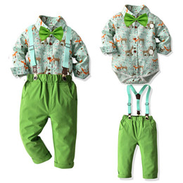 $enCountryForm.capitalKeyWord NZ - New Christmas baby boys suits casual baby boy clothes long sleeve shirt rompers+suspender trousers baby boy outfits retail A7758
