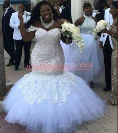 Yellow Coral Beads Australia - Exquisite Off Shoulder Lace Wedding Dresses Plus Size Beads Applique Mermaid African Vestido de novia Bride Dress Arabic Bridal Gown Custom
