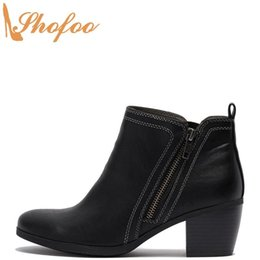 women black booties NZ - Black Ankle Boots High Chunky Heels Woman Round Toe Booties Large Size 12 15 Ladies Winter Fashion Stitching Detail Shoes Shofoo