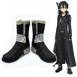 sword art kirito cosplay costume Australia - qqqAnime Cosplay Sword Art Online SAO Kirito Kirigaya Kazuto Cosplay Boots Shoes Hight quality Black PU leather Shoes