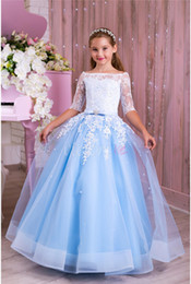 $enCountryForm.capitalKeyWord Australia - Lace Pearls Vintage Flower Girl Dress Ball Gown Tulle Little Girl Wedding Dresses Beautiful Child Pageant Dresses Gowns