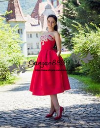 Strapless Satin Wedding Dresses Bridal Australia - Vintage Red Satin Wedding Dresses Strapless A Line tea length Lace Up with lace applique custom made summer Bridal Gowns vestidos Plus Size