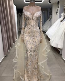 $enCountryForm.capitalKeyWord NZ - Champagne Pearl Beaded Mermaid Wedding Dresses Luxury Sparkly Off Shoulder Long Sleeve Bridal Gown Plus Size Custom Made