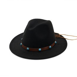 0e8f36ab Autumn Winter Unisex Plain Dyed Wool Felt Fedora Hat with Custom Decoration  Flat Brim Jazz Formal Hat Panama Style Gambler Hats