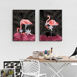 canvas art prints flowers Australia - HD Print Canvas Poster Modular Flamingos Fashion Flower Painting Home Decor Pictures Modern Nordic Style Living Room Wall Art