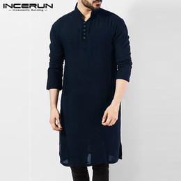 $enCountryForm.capitalKeyWord NZ - INCERUN Vintage Casual Mens Shirt Long Sleeve Cotton Solid Shirt Pakistani Clothes Men Long Shirts Indian Kurta Suit Hombre 2019
