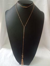 $enCountryForm.capitalKeyWord Australia - cecmic gold charms chains jewellery with beads choker big tassel necklaces
