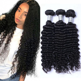deep wave 18 inch hair Australia - Brazilian Hair Weave Bundles Deep Wave Unprocessed Human Hair Weft Curly Non Remy Hair Weaving 8-26 inch