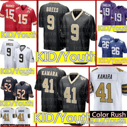 07daead90 KID 41 Alvin Kamara 9 Drew Brees Jersey Youth KIDS New Orleans Saints  Football Jerseys Color Rush Limited Cheap wholesale Free Shipping