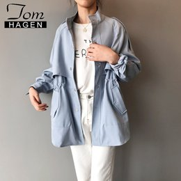 $enCountryForm.capitalKeyWord Australia - Tom Hagen Autumn Korean Style Trench Coat for Women Loose Trench Light Blue Trend Coat Feminino Winter Women's Long