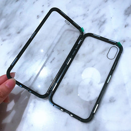 Iphone Front Back Case Canada - Magnetic Adsorption Metal Frame Case Back+front Tempered Glass Full cover for IPhone XS XR XS MAX 6 6s+ 7 8 PLUS 50pcs lot