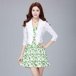 $enCountryForm.capitalKeyWord Australia - Fashion Solid Sweet Woman Slim Suit Jacket Lace Three Quarter Short Office Jacket Single Breasted Notched Blazer Mujer