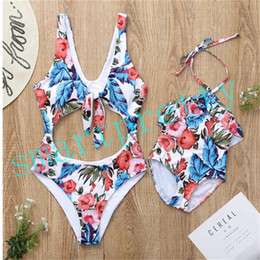 match clothing mom baby Australia - Summer Mom Gilrs Matching Swimwear Floral Flowers Print One Piece Women Swimsuit Backless Lace Up 1-8Y Kids Bikinis Beachwear Clothing LY411