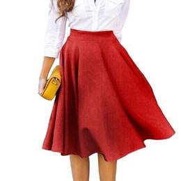 6e9cf150663da 2019 Summer Women Midi Solid Skirts Causal Vintage High Waist Pleated Solid  Skirt Knee Length A Line Umbrella Big Swing Skirts