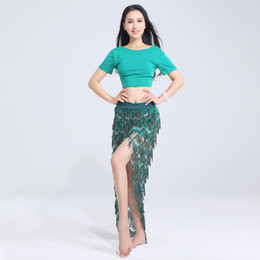 $enCountryForm.capitalKeyWord NZ - Belly Dance Costume Set Short Sleeve Top Sequined Long Skirts Exotic Dancewear Belly Dancing Outfits Gypsy Clothing DNV10764