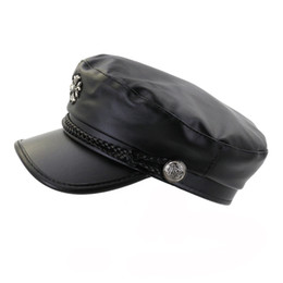 277b2196d50c26 Fashion Woman Leather Black Military Hat Cabbie Cap with Braid Trim Womens  Ladies Peaked Caps Flat Top Hats Outdoor Sun Visor Cap