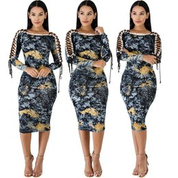 Wholesale bodycon bandage hollow side dress resale online – Slash Neck Sexy Printed Pencil Dress Spring Double Side Cross Lace Up Midi Dress Women Wrist Sleeve Bandage Dress