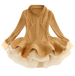 Discount tulle sweater Kids Designer Clothes Girls Tutu Dresses Solid Children Princess Dress Long Sleeve Girl Sweater Boutique Kids Clothing 1