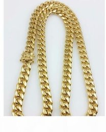 "yellow gold miami cuban link chain Canada - Men 18k Yellow Gold Stainless Steel 12mm 24"" Miami Cuban Curb Link Chain"