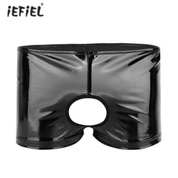 $enCountryForm.capitalKeyWord NZ - iEFiEL Sissy Mens Lingerie Shiny Patent Leather Boxer Shorts Sexy Panties Open Crotch Erotic Briefs Slim Low-rise Gay Underwear