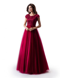 $enCountryForm.capitalKeyWord UK - New A-line Dark Red Long Modest Prom Dress With Cap Sleeves Jewel Neck Lace Top Tulle Skirt Floor Length Teens Formal Evening Dress