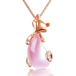 acrylic gem necklace UK - Rose gold necklace female clavicle chain pink crystal small fox pendant Korean simple hibiscus gem silver jewelry