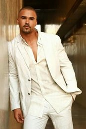 Groom suits for beach weddinG online shopping - Ivory White Linen Summer Beach Wedding Suits for Men Casual Best Man Groom Party Prom Suits Custom Made Street Wear Men Blazer