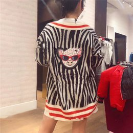 $enCountryForm.capitalKeyWord Australia - autumn new women sweaters Fashion flower pig knit wool cardigan stripes long loose sweater female knitted Zebra pattern sweater