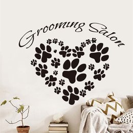 Wall Graphics Prints Australia - DCTOP Grooming Salon Wall Sticker For Living Room Animal Dogs Paw Prints Heart Design Vinyl Removable Art Mural Home Decoration