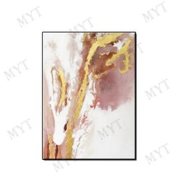 Gold Framed Paintings Australia - Pure Hand-painted abstract wall art home decor Oil Painting on canvas modern light gold plating landscape for living room no framed