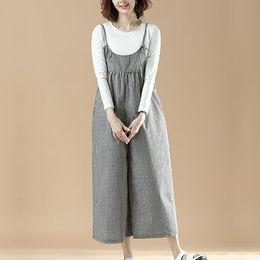 bdc8871c2b1 Vintage Jumpsuits for Women Overalls 2019 New Autumn Women Suspenders Plaid  Loose Trousers Cotton Linen Rompers Womens Jumpsuit
