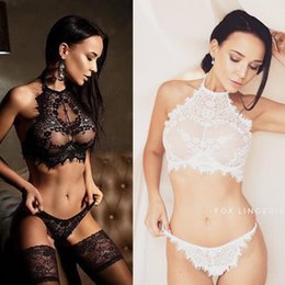 Opened bra online shopping - 2018 new Women Sexy Lingerie Set Erotic Sheer Lace Open Bras Bralette Floral G String Panties Women Underwear Set Sex Clothes