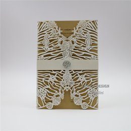 $enCountryForm.capitalKeyWord UK - Luxury Pearl Ivory Laser Cut Wedding Invitation with Customized Insert, Envelope And Belly, Elegant Laser Invite For Wedding, Free Printing