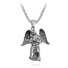 $enCountryForm.capitalKeyWord Australia - Angel Wings Pendant Link Necklace For Women Men Alloy Trendy Punk Figure Religion Necklace Chain Jewelry Wholesale Fashion Gift