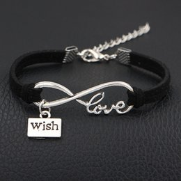 $enCountryForm.capitalKeyWord NZ - Hot Infinity Love Wish Brand Charm Bracelets & Bangles Single Layer Shape Black Leather Suede Jewelry For Women Men pulseira masculina 2018