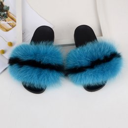 $enCountryForm.capitalKeyWord Australia - RASS PLE 2019 New Color Real Fox Fur Slippers Slides Casual Shoes Fluffy Slippers Flip Flops Furry Shoes Women