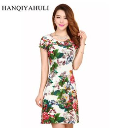 a5aa90a1 2019 Women Style Dress Slim Tunic Milk Silk Print Floral Casual Plus Size  Vestido Feminino Loose Dresses Clothes L-5XL