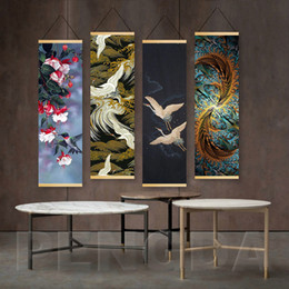 painting crown NZ - 4 Panel Wall Art Canvas Hanging Painting Poster Red-crowned Crane Nordic Print Animal Picture Home Deco Scroll Children Room Unique Gift