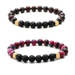 Black Rock Beads Australia - colorful Stone 8MM Black Lava Stone Beads Bracelet Volcano Rock DIY Essential Oil Diffuser Bracelet for Women Men Jewelry
