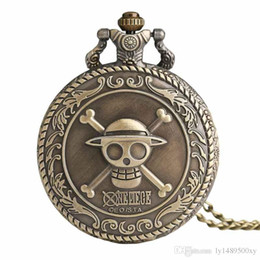 Watches anime online shopping - Men s Japan Cartoon Anime One Piece Pocket Watch Fashion Necklace Pendant Chain Vintage Steampunk Fob Watch Souvenir Gifts for Men Wome