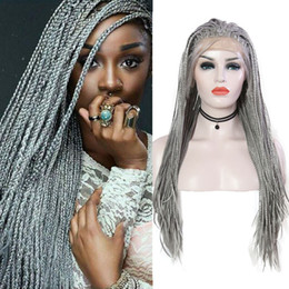 lace front micro braid wigs 2020 - AIMEYA Silver Gray Box Braided Lace Front Wig for Black Women with Baby Hair Heat Resistant Synthetic Long Micro Braids