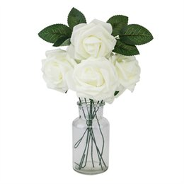 $enCountryForm.capitalKeyWord Australia - 25pcs lot Foam Artificial Rose Flowers w Stem, DIY Wedding Bouquets Corsage Wrist Flower Headpiece Centerpieces Home Party Decor