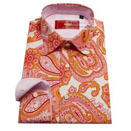 Orange Pink Shirt Australia - custom tailor made Men's bespoke shirts business formal wedding ware bespoke blouse pink silk printed paisley floral fashion