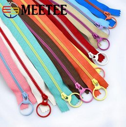 Wholesale MEETEE Multicolor O Ring Puller Resin Zipper Close end Zippers for Bag Garment Sewing Zips DIY Accessory Craft A2